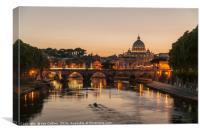 Sunset on the Tiber, Rome, Canvas Print