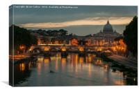 Boat Trip at Sunset in Rome, Canvas Print