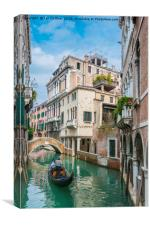 Gondolier on Secluded Canal, Canvas Print