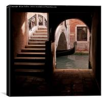 Gondola passing under Bridge, Venice, Canvas Print