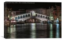 The Rialto Bridge at Night, Canvas Print