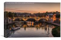 Boat Tour on the Tiber, Canvas Print