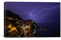 Lightning Storm Over Manarola, Canvas Print