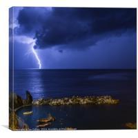 Lightning at Manarola, Canvas Print