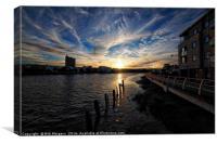 River Usk Sunset                                  , Canvas Print