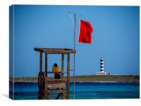 Lifeguard Looks Out to Sea, Canvas Print