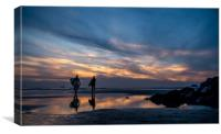 Sunset Surfing - Polzeath Cornwall , Canvas Print