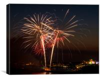 Fireworks in Plymouth, Canvas Print