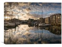 Sutton Harbour Sunset, Plymouth, Canvas Print