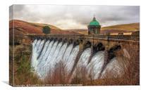 Craig Goch dam in full flow, Canvas Print