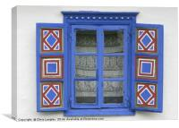 A Romanian Farmhouse Window with shutters, Canvas Print