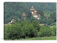Fortified Church. Transylvania Romania Watercolour, Canvas Print