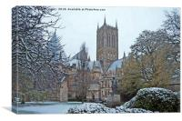 Lincoln Cathedral in the snow. Watercolour, Canvas Print