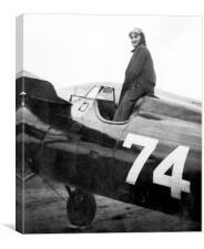 Female aviator in her racing machine., Canvas Print