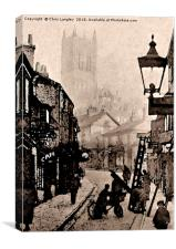 The Straight, Lincoln, 1890s misty day watercolour, Canvas Print