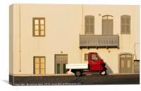 a  three wheeler pick-up in Mandraki Nisyros Dodec, Canvas Print