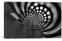 Retro - black - white , Canvas Print