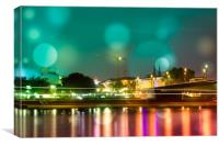 Bonn at night on the Rhine , Canvas Print