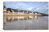 Lyme Regis reflected in the sand and sea, Canvas Print