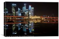 Fullerton Hotel and Finance Centre Skyline, Singap, Canvas Print