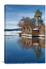 Boathouses on the Frozen Lake, Canvas Print