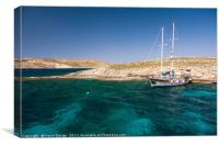 Relaxing in Blue Lagoon Bay, Comino, Canvas Print