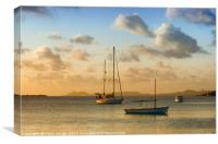 Caribbean Evening Anchorage, Canvas Print