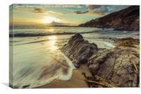 Filtered effect vintage photo, sunset at beach., Canvas Print