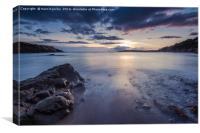 Sunset at rocky beach with slow motion blur water, Canvas Print
