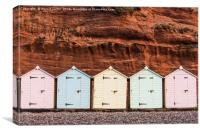 Beach hut row in pastel colors, red rock backgroun, Canvas Print