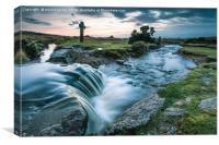 Water flowing in wild creek, Canvas Print