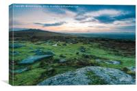 Granite rocks in Dartmoor Park , UK, Canvas Print