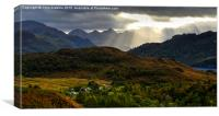 Crepuscular rays over the Five Sisters of Kintail, Canvas Print