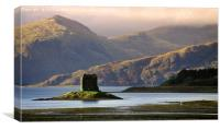 Castle Stalker from loch, Laich.