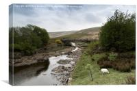 Afon Claerwen with Bridge. Welsh countryside., Canvas Print