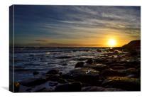 Sunrise by rocks, Canvas Print