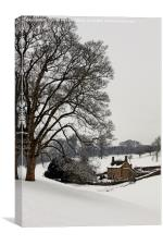 The Cottage in winter, Canvas Print