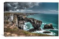 Green Bridge of Wales, Pembrokeshire HDR, Canvas Print