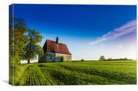 Old church in the summer field. Dobronice u Bechyn, Canvas Print