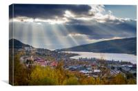 Sun rays above Åre in Sweden, Canvas Print