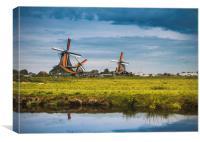 Dutch windmills on the Zaanse schans, Canvas Print