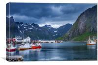 Harbor on the Lofoten in Norway., Canvas Print