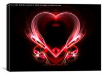flying heart on a dark background. Abstraction, Canvas Print