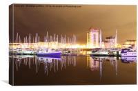 Swansea Marina Night Reflections, Canvas Print