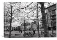 Cardiff Bay, bicycles and trees, Canvas Print