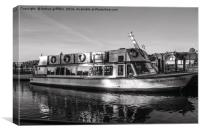 Black and white boat on Lake Windermere, Canvas Print