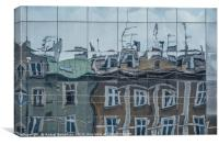 Building reflection on Ghetto Heroes Square, Canvas Print