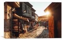 People walk through streets of ancient Nessebar, Canvas Print