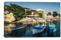 Old wooden fishing boat in a port of Nessebar, Canvas Print