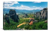 Mountain scenery with Meteora rocks and Roussanou , Canvas Print